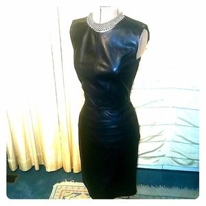 New ESCADA Real Leather Midi Dress 0